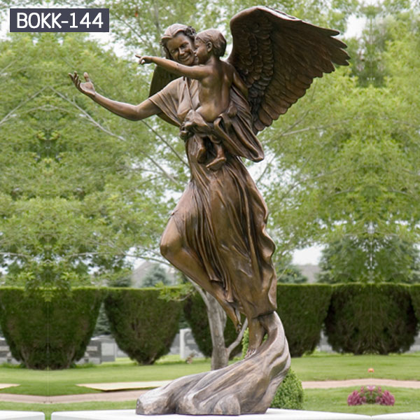 Bronze Garden Statues Of Angel And Cherub For Lawn Metal Art