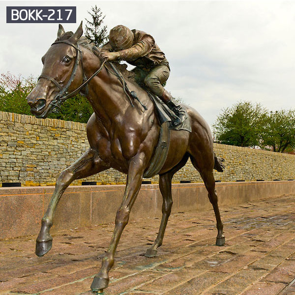 Life size bronze horse and jockey sculpture Uk for sale