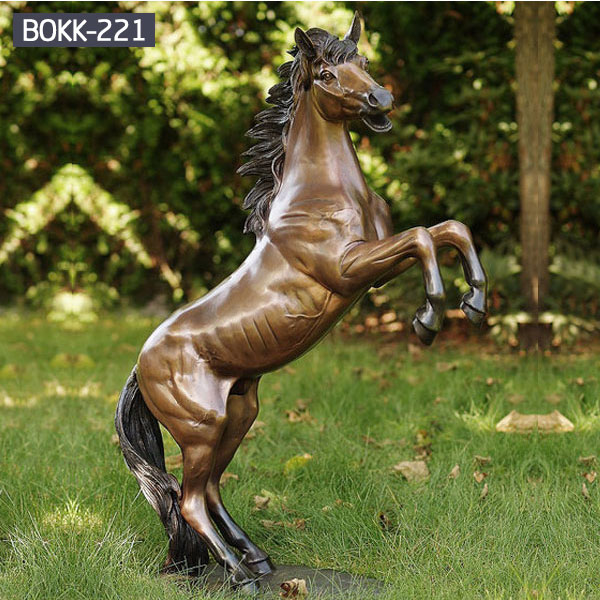 Rearing horse bronze statues for garden lawn ornaments outdoor