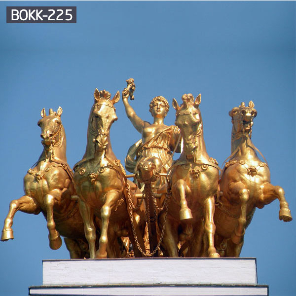 Brass golden horse and angel chariot group sculptures for sale