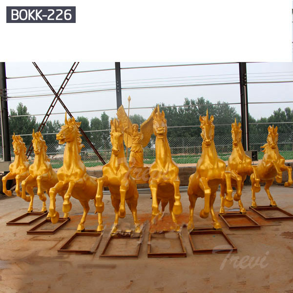 Group life size golden horse chariot statues for sale