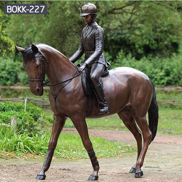 Life size vintage bronze standing horse and girl rider for garden decor outdoor