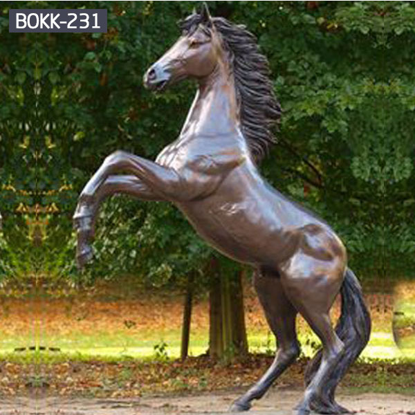 Outdoor garden ornaments life size brass horse statues for sale