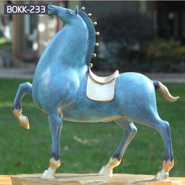 Blue standing horse metal statues for home decor
