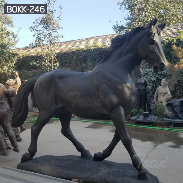 Metal bronze black standing horse life size outdoor for sale