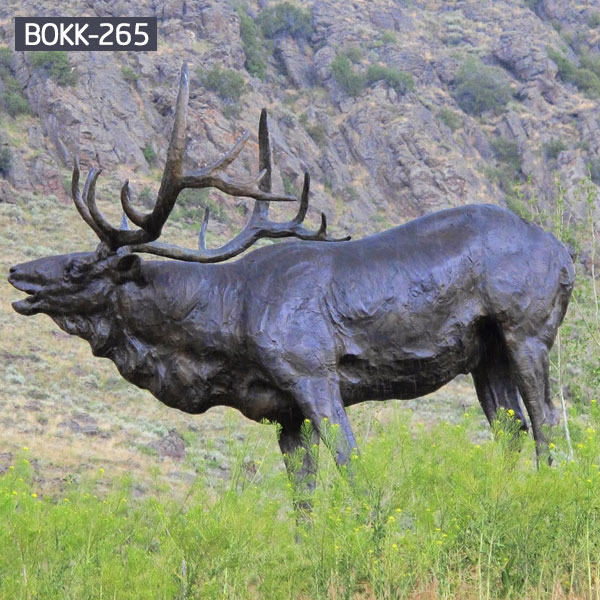 Outdoor bronze life size elk lawn ornament statue for sale