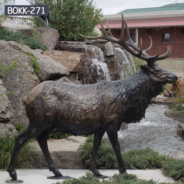 Metal brass life size elk statues outdoor garden decor