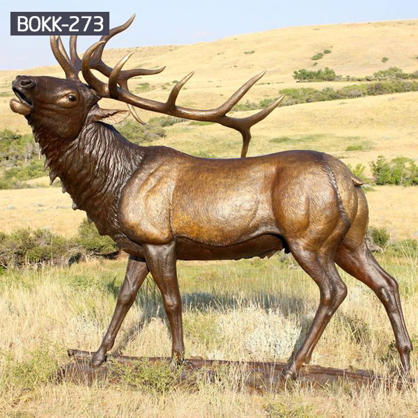 Brass large elk wildlife garden statues price