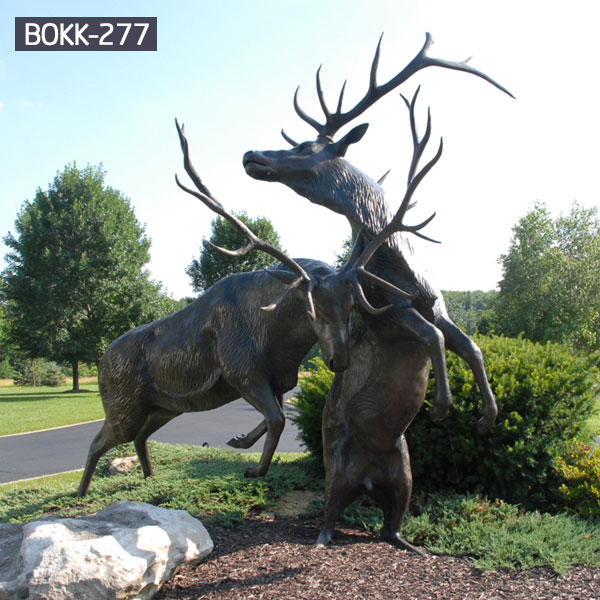 Decorative lawn dear fighting statues metal bronze outdoor prices