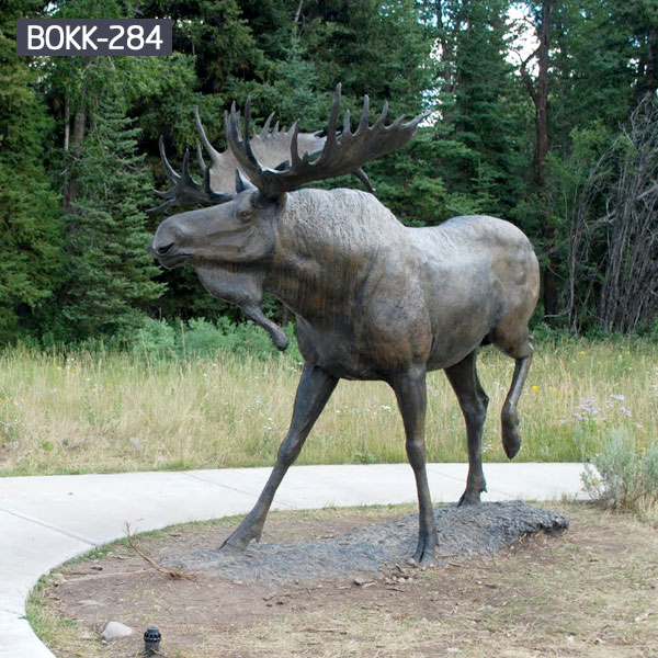 Outdoor life size bronze wildlife animal statues of standing moose for sale