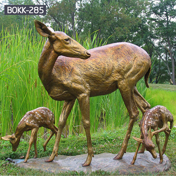 Brass life size deer and fawn garden sculptures for sale