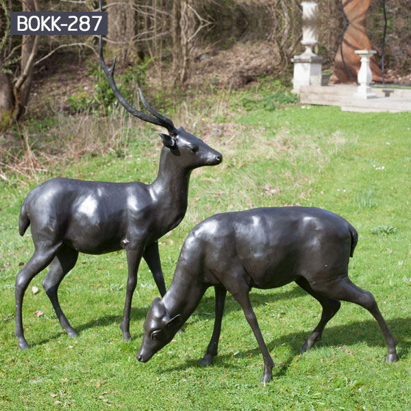 A pair of life size deer grazing bronze lawn statues costs