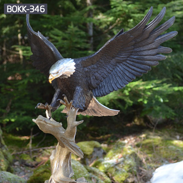 Large bronze bald eagle outdoor lawn decor for sale