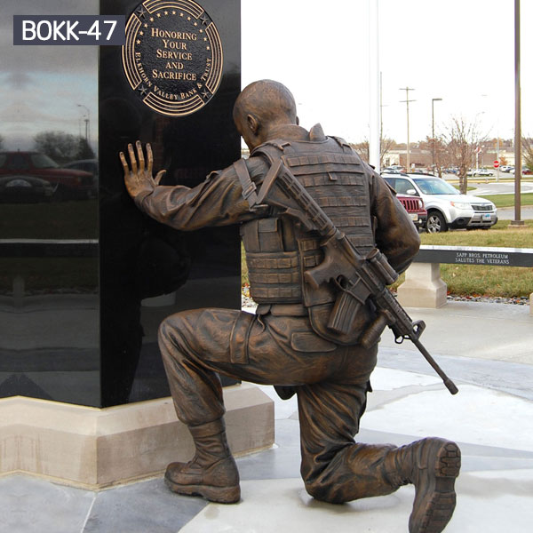 Military bronze casting kneeling soldier statues for sale